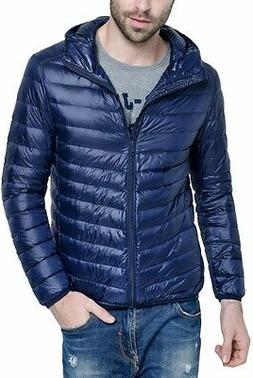 HENGJIA Mens Jacket Solid Navy Blue Size 3XL Puffer Hooded F
