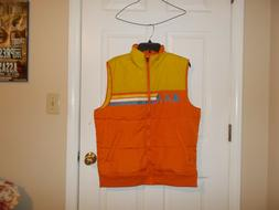 Mens LARGE Puffer Vest Jacket Retro 80s style Orange Netflix