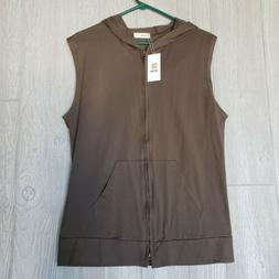 H2H Mens Medium Casual Vest Brown Hood Zipper Pockets NWT