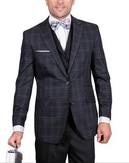 Statement Mens Modern Fit Black Gray Plaid Blazer + Vest 46R