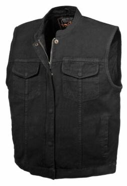 Men's Motorcycle Biker Denim SOA Club Style Vest with Dual