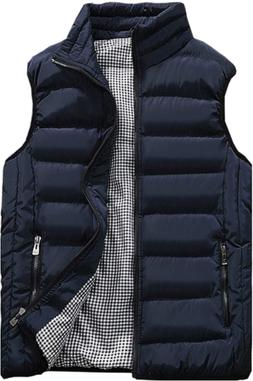 Vcansion Mens Outdoor Casual Stand Collar Padded Vest Coats