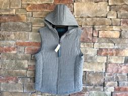 PERRY ELLIS Mens Quilted Full Zip Sleeveless Vest with Hood