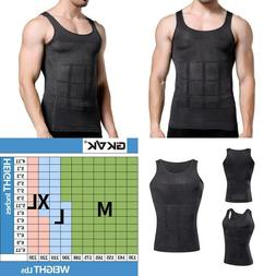 Gkvk Mens Slimming Body Shaper Vest Shirt Abs Abdomen Slim