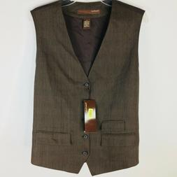 Perry Ellis Mens Suit Vest XL Bryce Canyon Stripe Dark Choco