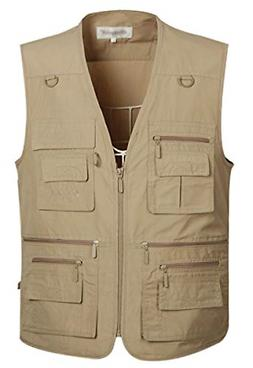 Mens Summer Outdoor Work Safari Fishing Travel Vest Pockets