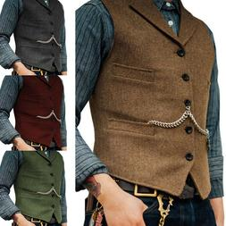 Mens Tweed Waistcoat Vest Wool Blend Herringbone Notch Lapel
