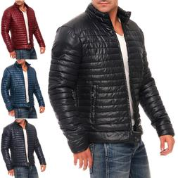 Mens Winter Down Puffer Jacket Bubble Quilted Padded Coat Zi