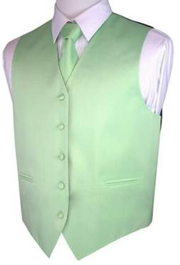 New Brand Q Formal Mens Vest Tuxedo Waistcoat & Necktie Mint