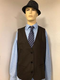 NEW Men's H2H BROWN  Lined 3 Button WAISTCOAT Size Large VES
