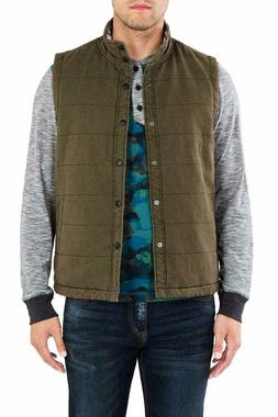 New UNIONBAY Men's Flannel Lined Canvas Vest - Medium - Carg