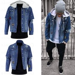 New Mens Fashion Denim Jacket Warm Fur Trucker Collar Hooded