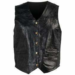 New Mens Genuine Leather Motorcycle Biker Vest Lg XL 2X 3X I