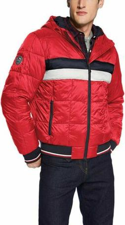 NWT Men's TOMMY HILFIGER QUILTED COLORBLOCK PUFFER JACKET si