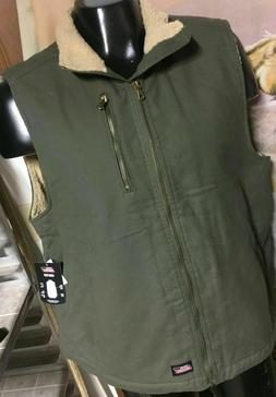NWT new DICKIES Sherpa fur Lined Canvas Olive Green VEST men