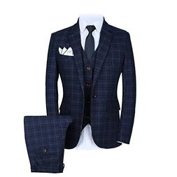 Mens One Button Slim Fit Plaid Suit Blazer+Vest+Pants US Siz