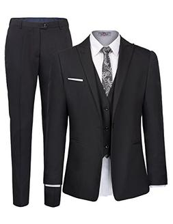 Men's One Button 3 Piece Suit Blazer Jacket Tux Vest and Tro