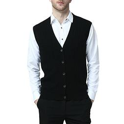 Kallspin Relaxed Fit Mens Cable Stripe V Neck Vest Sweater C
