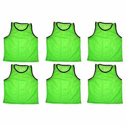 SET of 6 SCRIMMAGE VESTS PINNIES SOCCER ADULT GREEN ~ NEW!