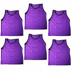 SET of 6 SCRIMMAGE VESTS PINNIES SOCCER ADULT PURPLE NEW!