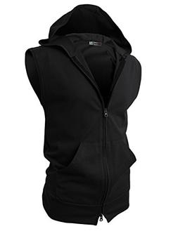H2H Mens Sleeveless Fashion Hoodies Zip-up with Various Colo