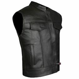 SOA Men's Leather Vest Anarchy Motorcycle Biker Club Conceal