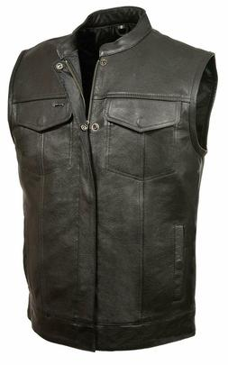 SOA Vest Mens Real Leather Anarchy Motorcycle Biker Club Con