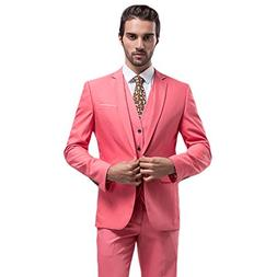 MAGE MALE Mens Solid 3-Piece Suit Slim Fit Notch Lapel One B