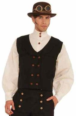 Steampunk Vest Black Victorian Fancy Dress Up Halloween Adul