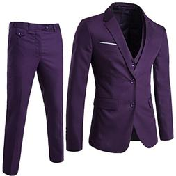 YIMANIE Mens Suit 3 Piece Single Breasted Jacket Two Button