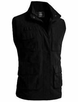 H2H Men's Tactical Multi Pocket Zip up Vests Black US XL/Asi