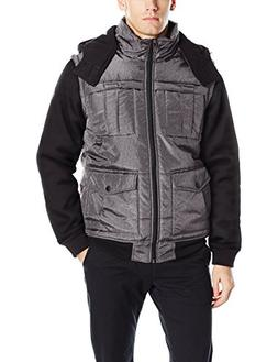 Southpole Men's Two Fer Padded Vest and Jacket All in One, M