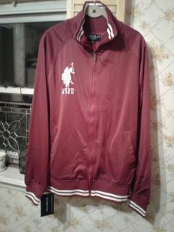 U.S. Polo Assn Burgundy & White Zip Up Track Jacket  -Size M