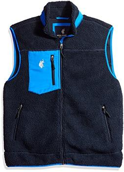 U.S. Polo Assn. Men's Full Zip Sherpa Vest, Classic Navy, L