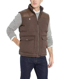 U.S. Polo Assn. Men's Signature Vest with PU Yoke, Dark Brow