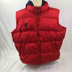 U.S. Polo Assn. Mens Puffer Hooded Vest Red Lightweight Full