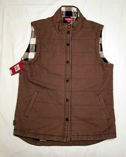 Union Bay Men's Brown Quilted Denim Flannel Lined Vest NWT S