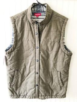 Union Bay Men's Size Large L Green Quilted Snap Button Vest
