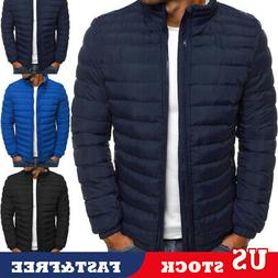US Men Coat Lightweight Jacket Slim Fit Puffer Hooded Zipper