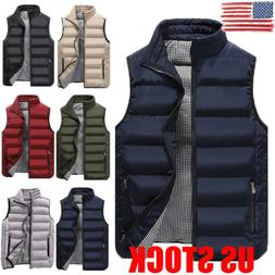 US Winter Warm Mens Down Cotton Padded Sleeveless Jacket Ves