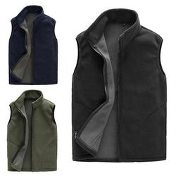 Winter Men Casual Fleece Warm Sleeveless Zipper Outwear Wais