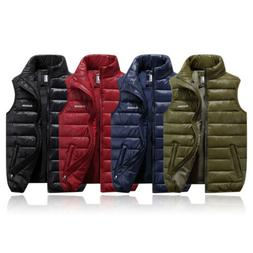 Winter Men Vest Sleeveless Puffer Warm Outwear Zipper Winter