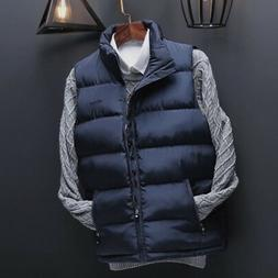 Men's Winter Vest Sleeveless Puffer Warm Outwear Zipper Padd