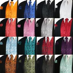 NEW Men's Paisley Design Dress Vest and Neck Tie Hankie Set